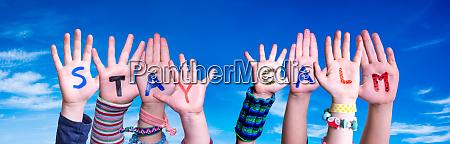 children hands building word stay calm