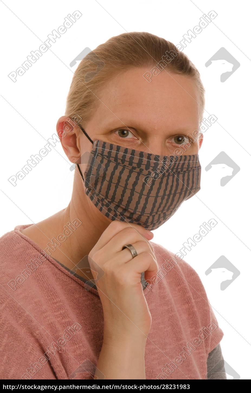 frau, mit, mundschutz, und, maske - 28231983