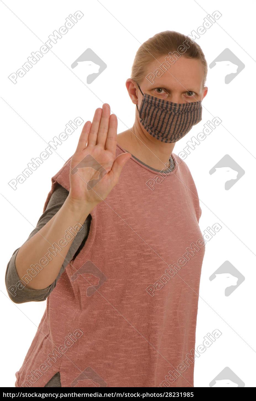 frau, mit, mundschutz, und, maske - 28231985