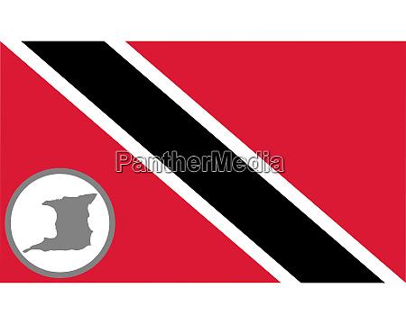 fahne und landkarte von trinidad und