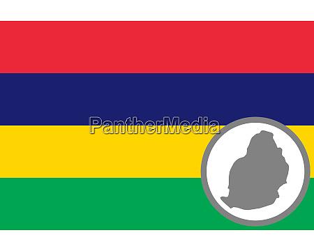 fahne und landkarte von mauritius