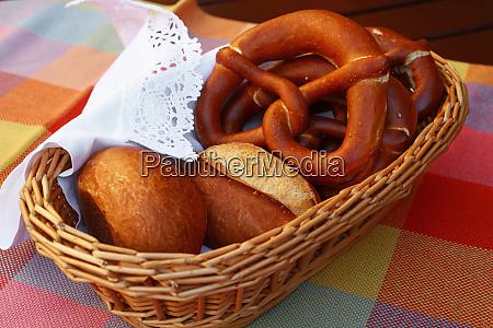 close up pretzel bread and buns