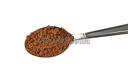 metal spoon full of freeze dried