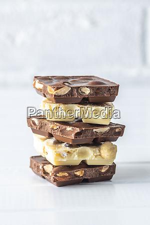 white and dark nut chocolate