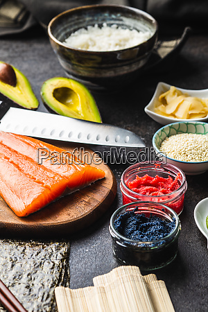 ingredients for the preparation of sushi