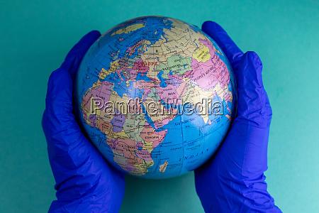 world corona virus attack concept world