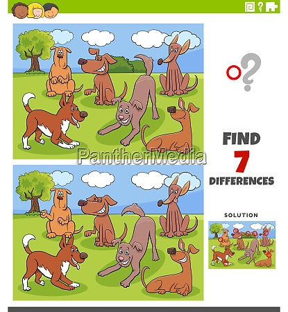 differences game with dogs characters group