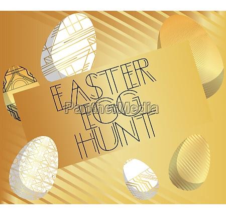 art deco easter egg hunt text