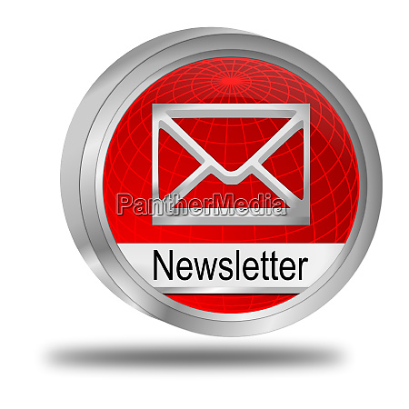 glossy red newsletter button 3d