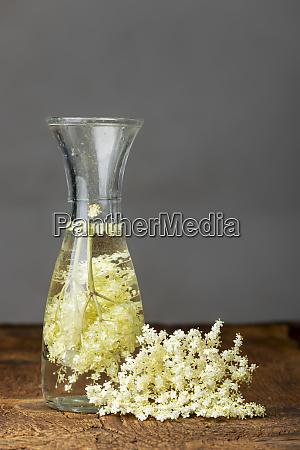 elderflower juice on dark wood