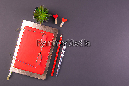 the red notebook stands on a