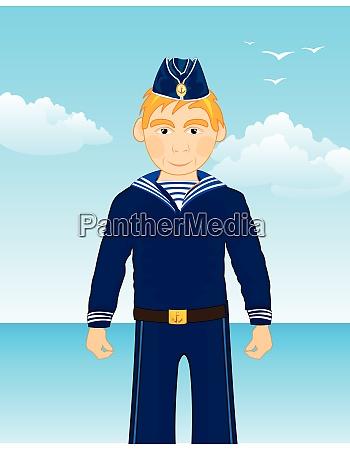 sailor man on background blue epidemic