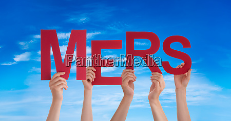 people hands holding word mers blue