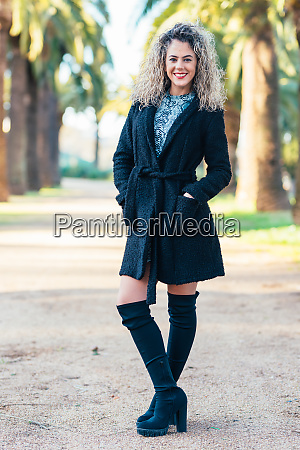 young woman model with curly blonde
