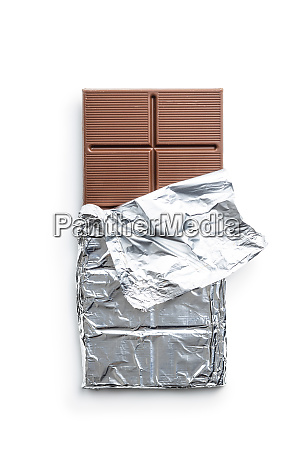 wrapped chocolate bar in aluminum foil