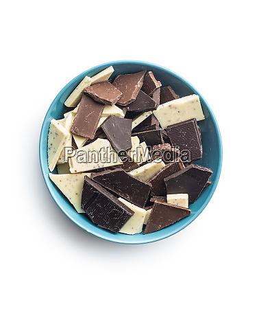 broken white milk and dark chocolate