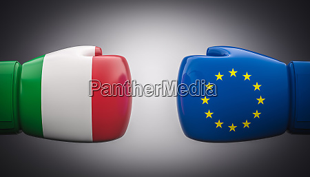 boxing gloves with flags of italy
