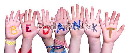 children hands building word bedankt means