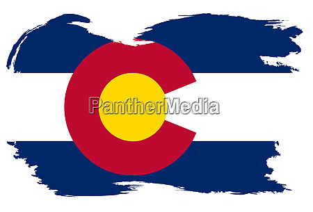 colorado state flag with grunge border