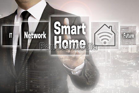 smart home businessman with city background
