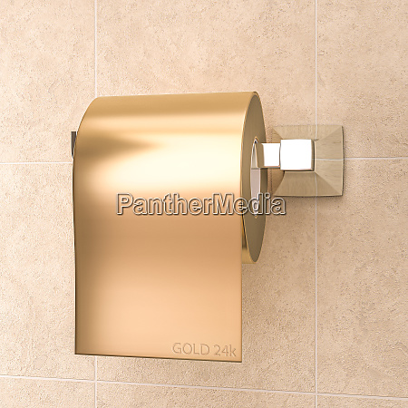roll of gold colored toilet paper
