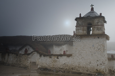 church, of, parinacota, in, a, fog. - 28257930