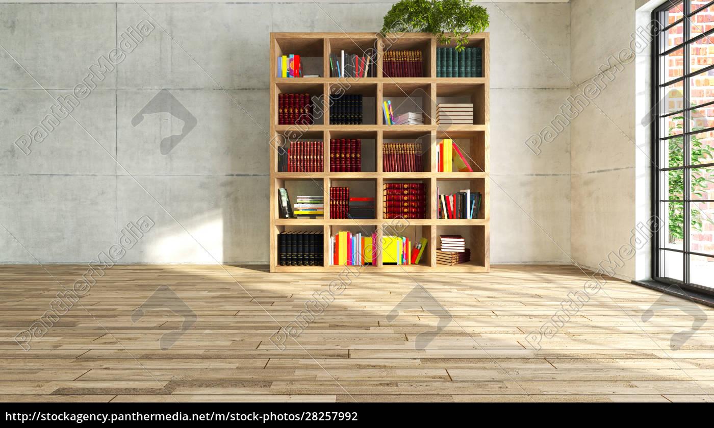 wooden, personal, book, in, empty, room - 28257992