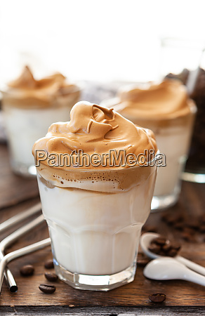 whipped coffee in a glass
