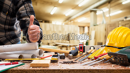 carpenter at work in the carpentry
