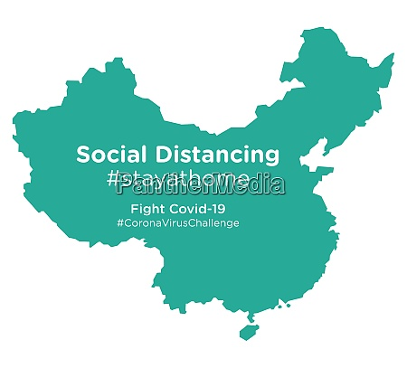 china map with social distancing stayathome
