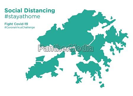 hongkong map with social distancing stayathome