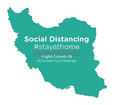 iran map with social distancing stayathome