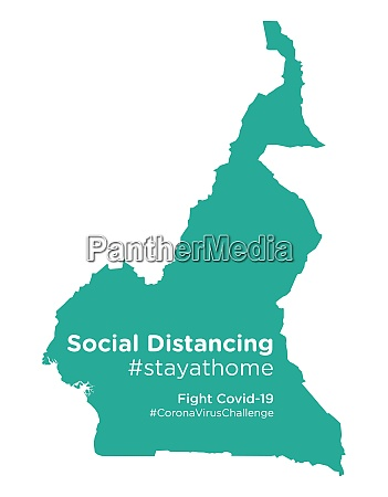 cameroon map with social distancing stayathome