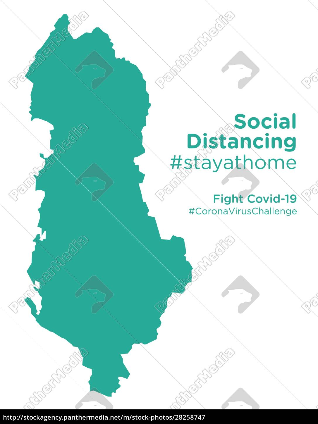 albania, map, with, social, distancing, #stayathome - 28258747