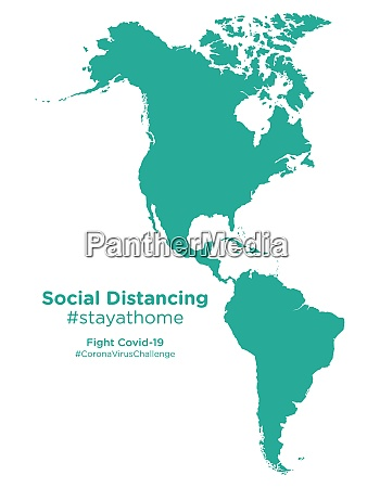 american, continent, map, with, social, distancing - 28258907