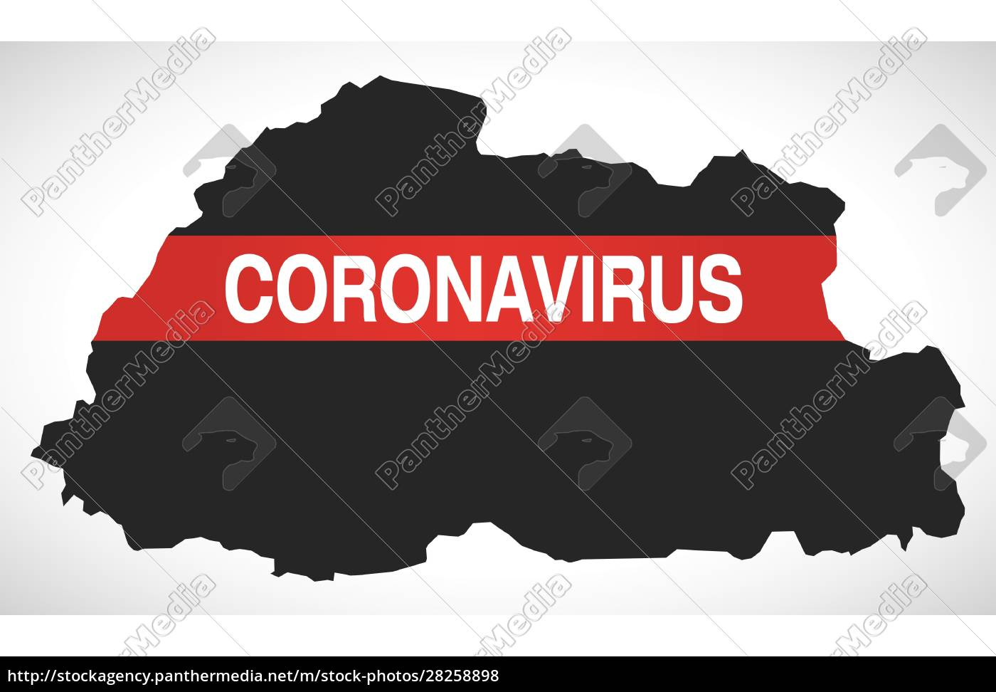 bhutan, map, with, coronavirus, warning, illustration - 28258898