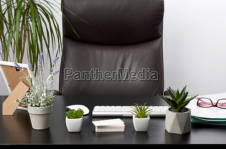 black, table, with, stationery, , wireless, keyboard, - 28258523