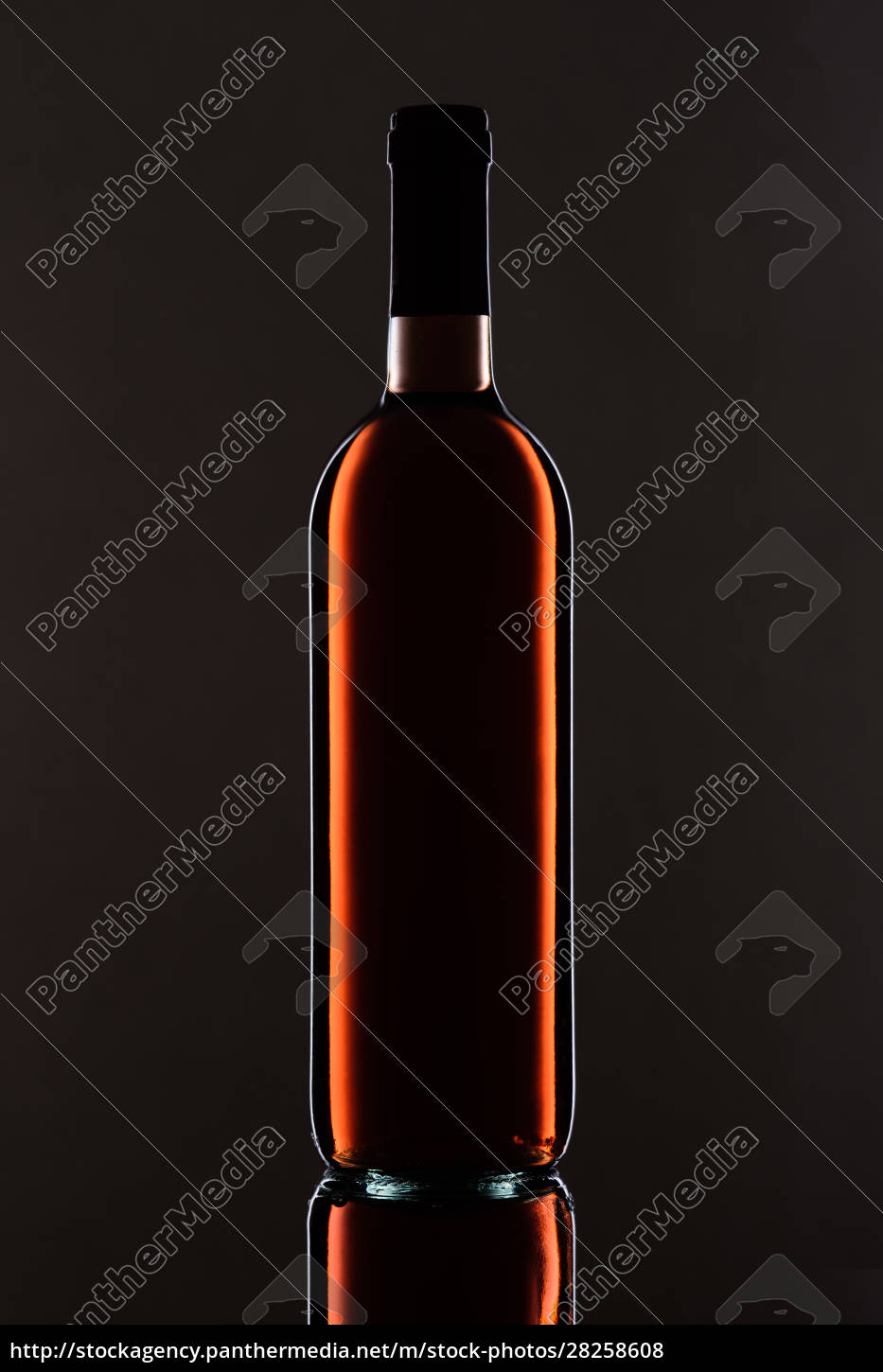 bottle, with, rose, wine, light, and - 28258608