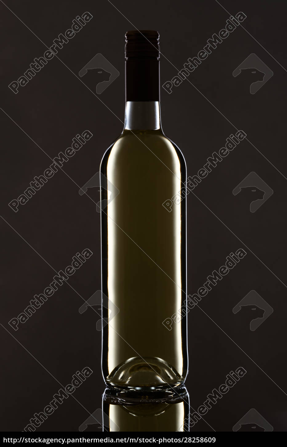 bottle, with, white, wine, reflection, on - 28258609