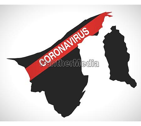 brunei, map, with, coronavirus, warning, illustration - 28258921