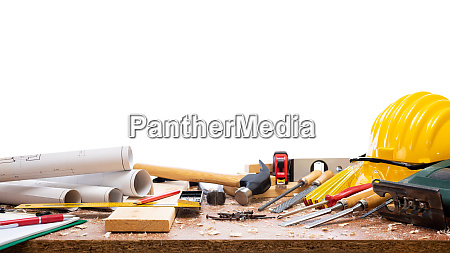 carpenter, tools, on, the, workbench. - 28258733