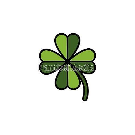clover., filled, color, icon., nature, vector - 28258302