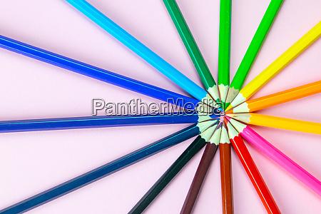 color, pencils, on, pink, pastel, background, - 28258268