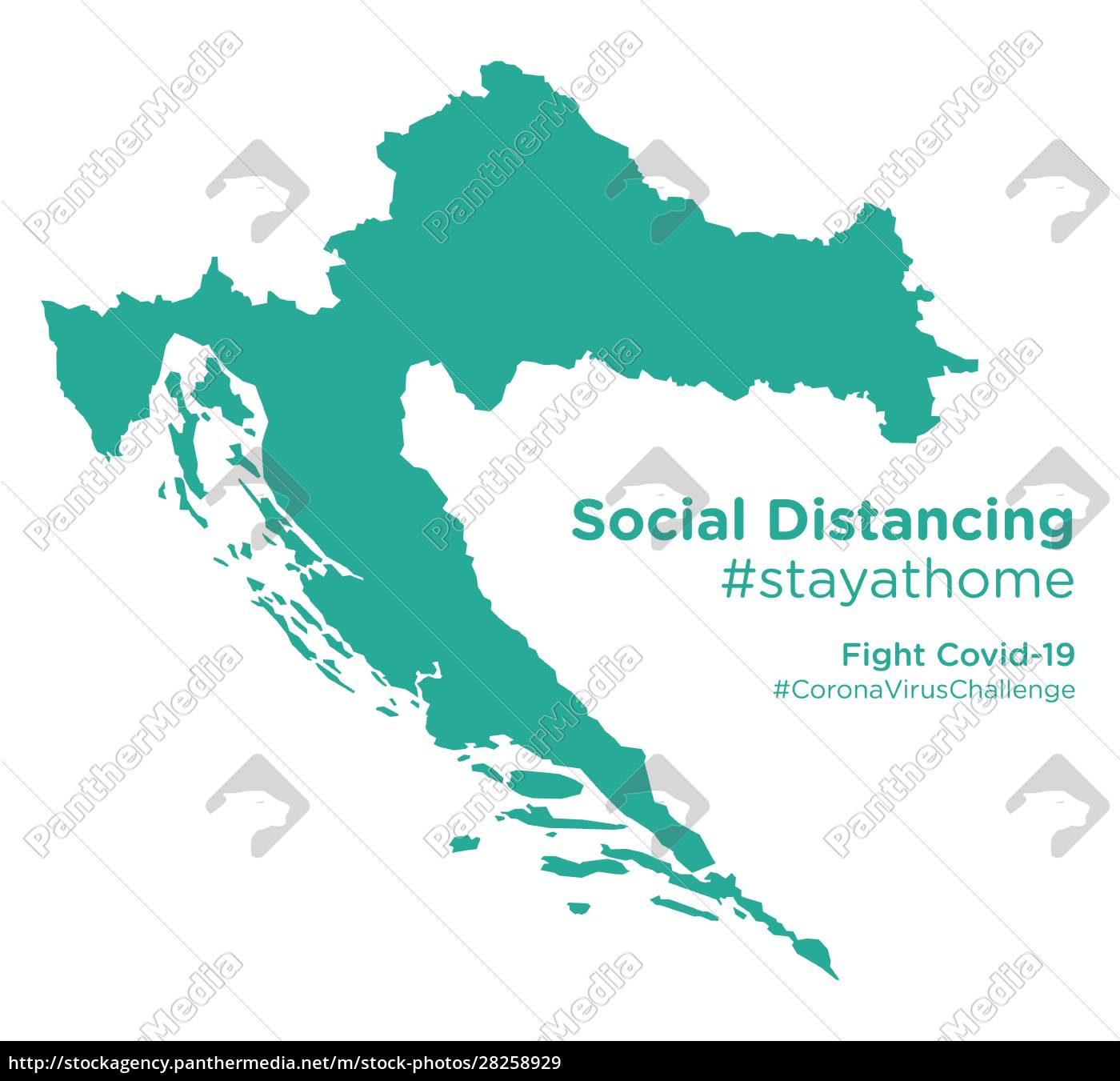 croatia, map, with, social, distancing, #stayathome - 28258929