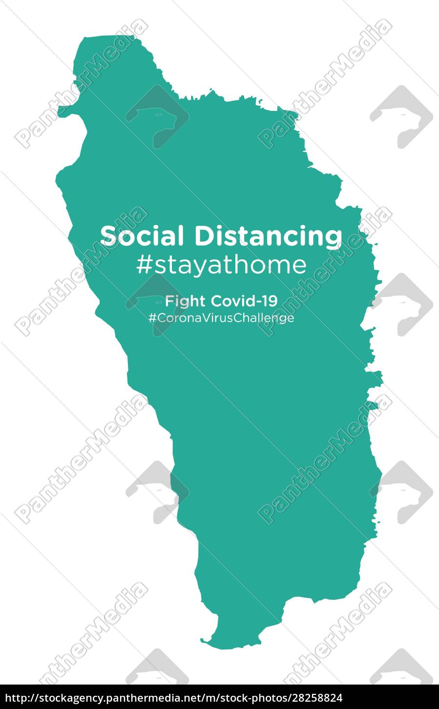 dominica, map, with, social, distancing, #stayathome - 28258824