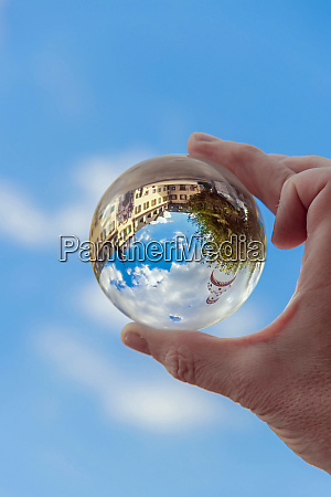 globe, in, hand, , lensball, with, castle - 28258086