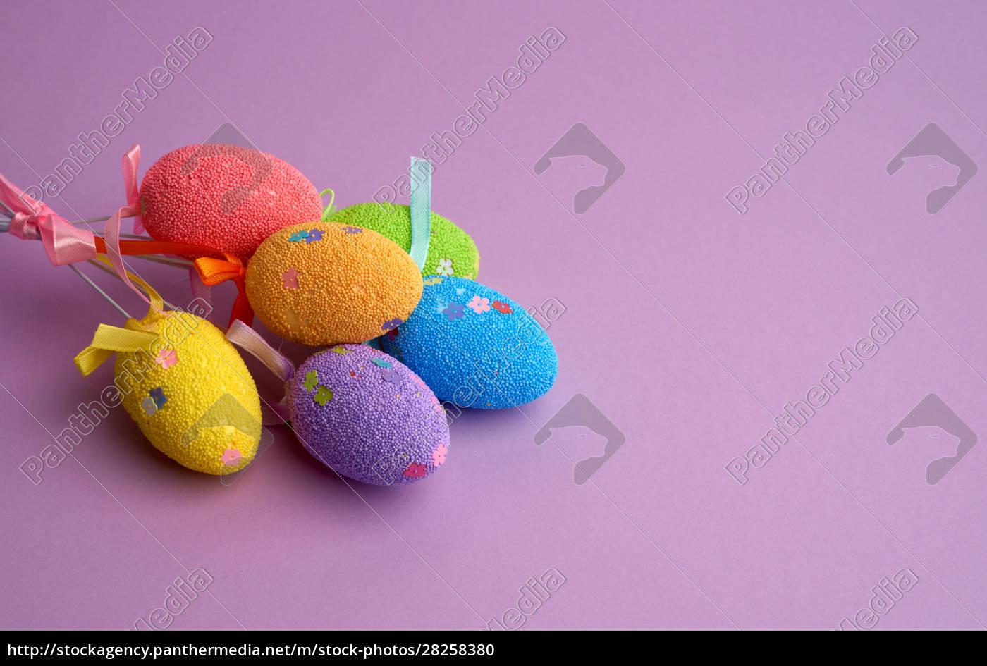 multi-colored, decorative, easter, eggs, on, sticks - 28258380
