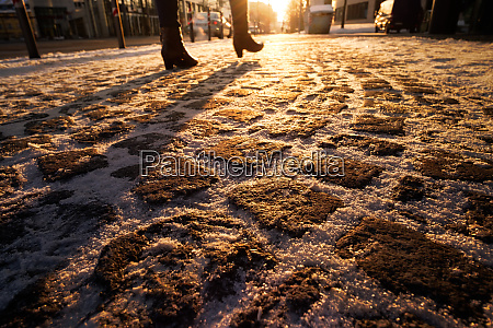 pavement, with, cobblestones, in, winter, and - 28258347