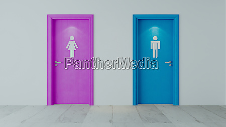 pink, and, blue, wooden, doors, with - 28258053