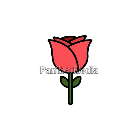 rose., filled, color, icon., flower, vector - 28258323